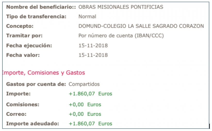 Domund: 1860,07 acciones de gracias.