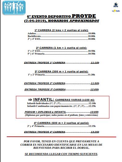 Horarios carrera Proyde 2019.