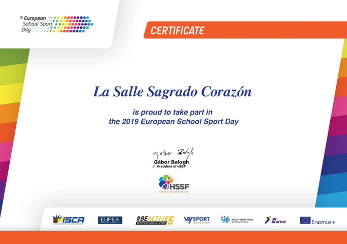 Certificado participación European Sport Day.