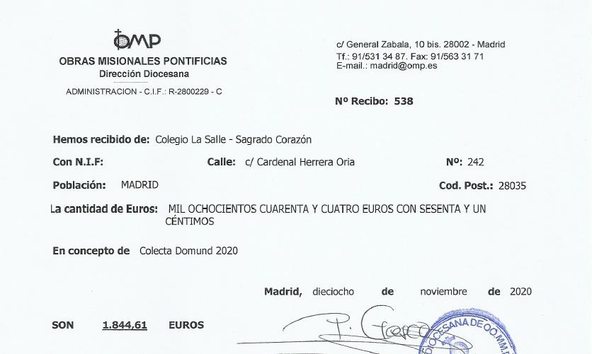 Recaudación DOMUND. 1.844,61 euros. ¡¡GRACIAS!!