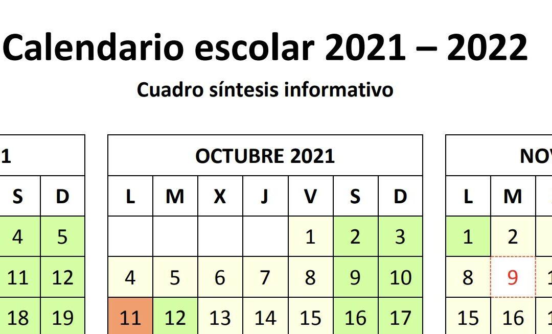 Calendario Escolar: curso 2021/22